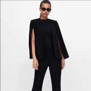 Black Zara cape blazer jacket